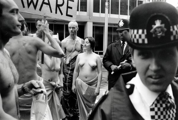 Naked protest (C) 2000, Peter Marshall