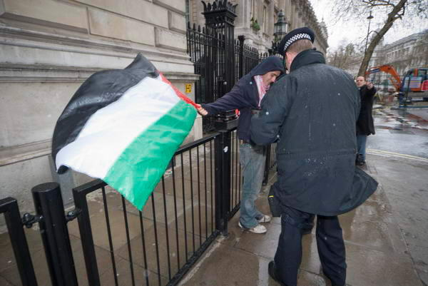 Man with Palestinian flag
