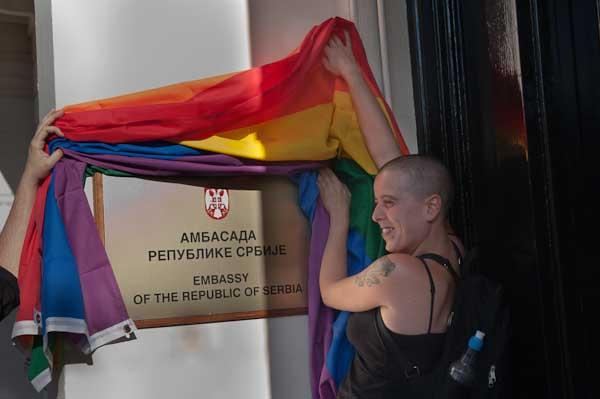Celebrity peace activists flag